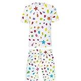 Troncos de Baño Divertidos Impresos en 3D para Hombre Ropa de Playa de Secado Rápido Pantalones Cortos de Baño y Camiseta de Manga Corta Camiseta de Cuello Redondo de Moda de Verano(Blanco 4,M)