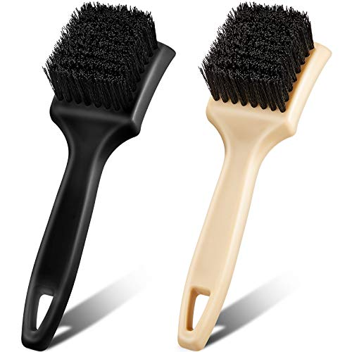 Frienda 2 Pieces Car Carpet Upholstery Cleaner Brush Car Wheel and Tires Brush Car Detailing Brushes Car Wash Accessories Scrub Brush for Car Interior, Home, Couch, Stain Remover