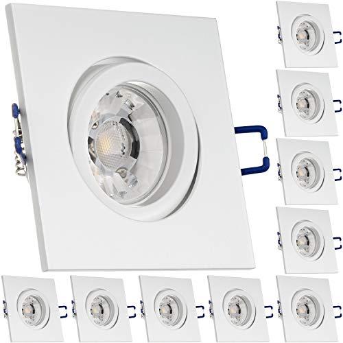 LEDANDO 10er Einbaustrahler Set für Spanndecken Weiß matt 7W Dimmbar Eckig LED GU10 Deckenstrahler - Spots - Deckenspots - Deckspot