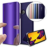 COTDINFOR Huawei P8 Lite 2017 Funda Espejo Ultra Slim Ligero Flip Funda Clear View Standing Cover Mirror PC + PU Cover Protectora Bumper Case para Huawei P8 Lite 2017 Purple Mirror PU MX.