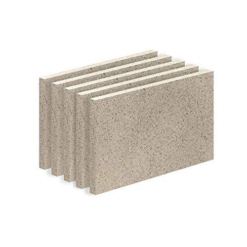 Vermiculite Platte Schamott-Ersatz für Kamin-Ofen Feuerraum Auskleidung SF600 500x300mm 25mm Stärke Temperaturbeständig bis 1100 °C mind. 600kg/m³ Rohdichte (x5)