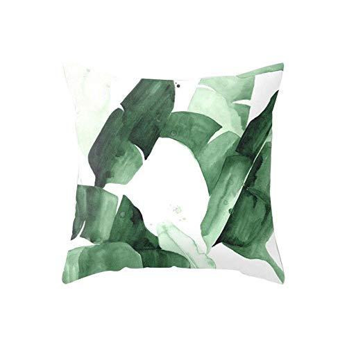 tangyuandain Funda de almohada de 45 x 45 cm con impresión de hojas de palma fresca (no incluye núcleo)