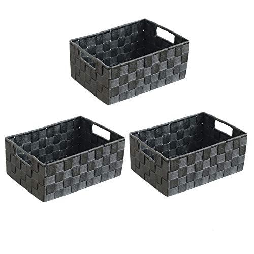 wm Homebase 3er Set Aufbewahrungskörbe geflochten Aufbewahrungskorb mit Griffen Polypropylen Regalkorb Badkorb in Grau 28x18x12 cm
