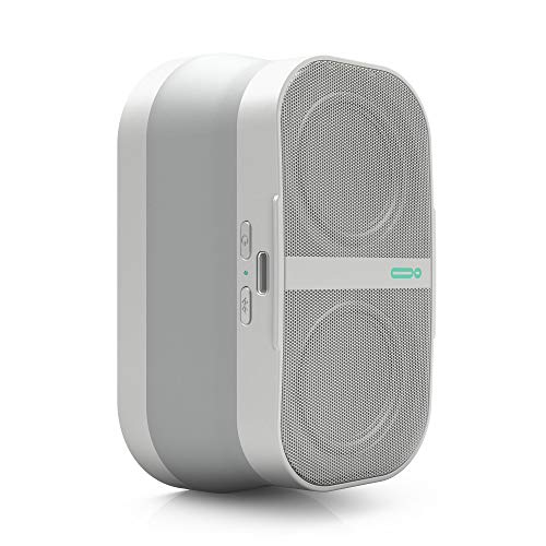 POW Mo Expandable Wireless Speaker + Universal Click Mount & Wallet, Compatible with iPhone & Android Devices, Snow