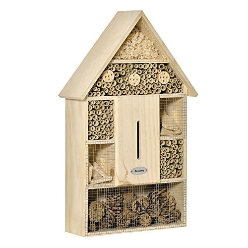 Outsunny Casa per Insetti da Giardino a 5 Livelli in Legno e bambù, Casetta per Coccinelle, Api e Farfalle, 32x12.5x57cm