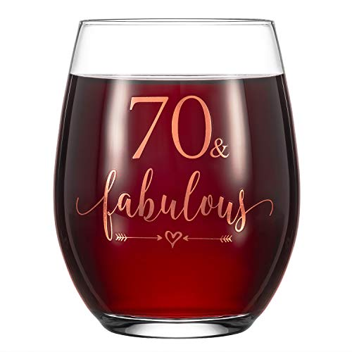 """Crisky Rose Gold 70 & Fabulous Wine Glass for Women 70th Birthday Gifts Funny Ideas for Women, Wife, Mom, Sister, Aunt, Friends, Coworker, Her Rose Gold Foil """"70 & Fabulous"""" 14oz, with Box"""