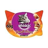 Whiskas Knuspertaschen für ausgewachsene Katzen - kalorienarme Knusper-Snacks für Katzen in der Geschmacksrichtung Rind