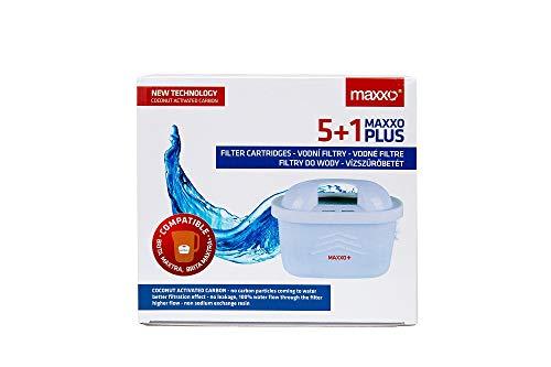 Maxxo+ 6 Cartuchos filtrantes compatibles con Brita Maxtra+ Cartuchos de filtrado Filtros de recambio para jarras Brita Maxtra plus para el agua pura certificados TÜV SÜD sin BPA (5+1 gratis)