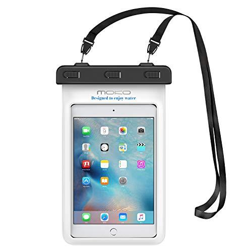MoKo Funda Impermeable - Universal Waterproof para iPad Mini 2019 / iPad Mini 4 3 2 1/ Nexus 7/ G Pad 7.0/8.0/8.3/ Venue 7.0/8.0/8.0 Pro, Lenovo Tab A7 y Tableta 8.4 Pulgadas - Blanco