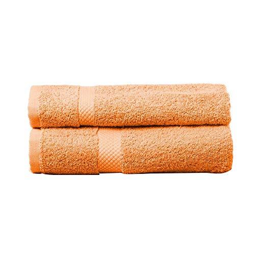 Juego de 2 Toallas de Lavabo 100% Algodón Naranja 50 X 100 Cm