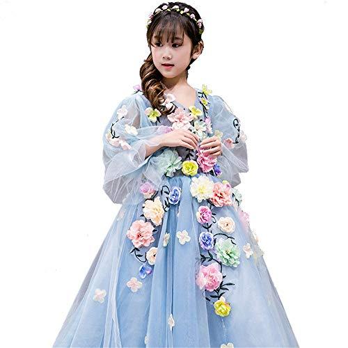 Owenqian Kleider für Mädchen-Party Kleid Kinder Rüschen Spitze Party Brautkleider Für Girs Kleid (Size : 120cm)