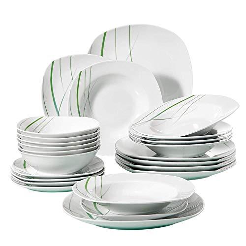 VEWEET, Tafelservice 'Aviva' aus Porzellan 24 teilig | Geschirrset beinhaltet Müslischalen, Dessertteller, Speiseteller und Suppenteller| Geschirrservice für 6 Personen