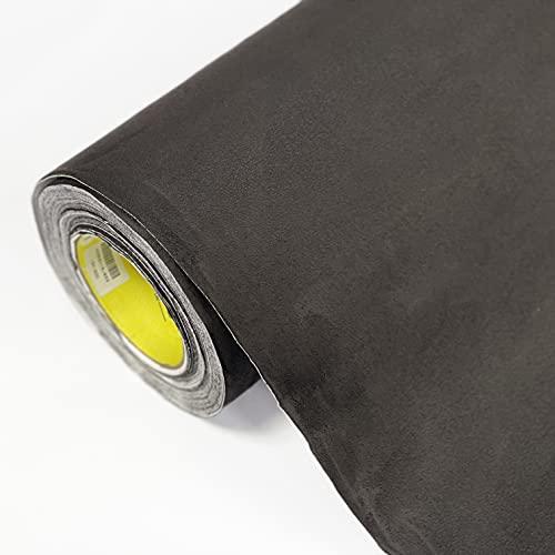 folimac - Selbstklebende Folie, Wildleder Velours Stoff, Mikrofaser Autofolie für Interieur Dachhimmel, Stretch mit Luftkanäle ab 36 Euro/m² + Folienrakel (Schwarz, 50cm x 142cm)