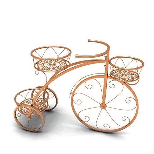 Soporte Creativo Para Plantas De Bicicletas, Estante De Hierro Para Flores Metal Soportes Para Exhibición Organizador Macetas con 4 para cesta, Jardín Decoración De Interiores Y Exteriores,Oro