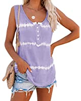LAMISSCHE Womens Tie Dye Tank Tops Summer Sleeveless Henley Shirts Button Up Scoop Neck Casual Workout Camis(Purple,XL)