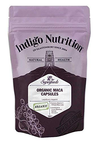 Indigo Herbs Organic Maca Capsules 500mg | 100 Vegan Caps | Gelatinised Blend of 4 Different Types of Maca | GMO Free