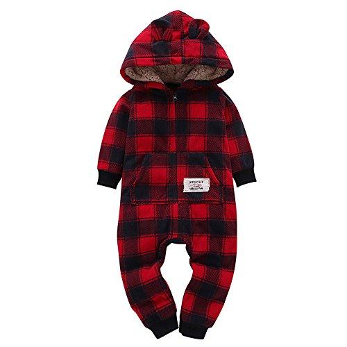 XXYsm Baby Strampler Winter Overall Mit Kapuze Jungen Mädchen Spielanzug Hooded Jumpsuit Dicke Gitter drucken Spieler (Rot, 0-6 Monate)