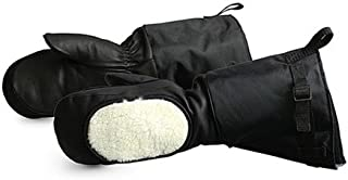 Superior Calfskin Leather Extreme Cold Weather Gloves Mitt with Removable Liner and Fleece Cheek Warmer, Work, 17