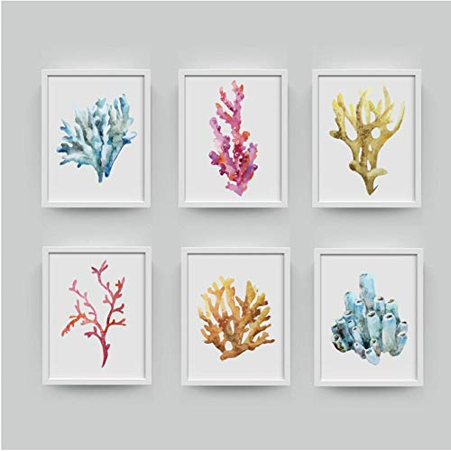 agwKE2 Corales Lámina Pared Imágenes Decoración para el hogar, Acuarela Corales Lámina Pared Arte Colgante Baño Lienzo Pintura Decoración náutica 30x40cmx6 Sin Marco