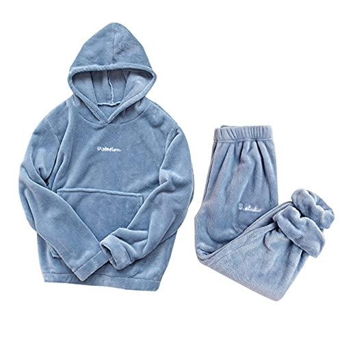 SDCVRE Conjunto de Pijama Conjunto de Pijamas Ropa de hogar de Franela Gruesa y cálida Ropa de salón de Invierno Pijamas de Franela para Mujer Pantalones de casa Ropa de casa cálida Traje, con capu