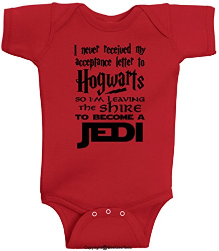 BeeGeeTees I Never Received My Acceptance Letter Funny Wizard Romper Baby Bodysuit (6 Months, Red)