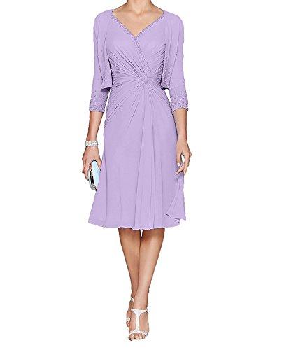 La_mia Braut Damen Flieder Chiffon Knielang Abendkleider Brautmutterkleider Festlichkleider mit Bolero-40 Flieder