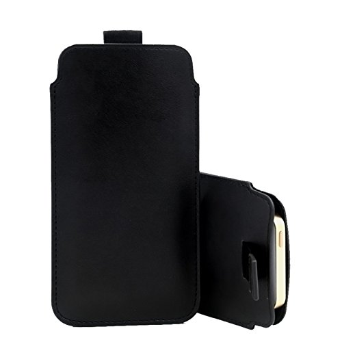 DOT. Apple iPhone XR - Luxury Slim Real Genuine Soft Leather Pull Tab Slide In Pouch Sleeve Case Cover (Black)