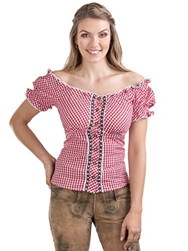 Schöneberger Trachten Couture Trachtenbluse Alpenstern - Elegante, schulterfreie Carmenbluse mit hinterer Schnürrung & tailliert (38, Rot/Weiss)