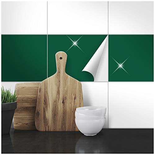 Wandkings Fliesenaufkleber - Wähle eine Farbe & Größe - Dunkelgrün Glänzend - 19,5 x 24,5 cm - 20 Stück für Fliesen in Küche, Bad & mehr