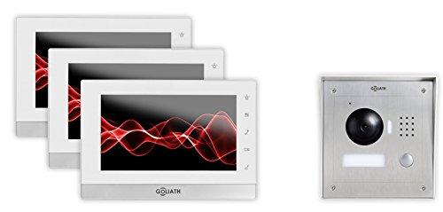 GOLIATH IP Video-Sprechanlage, Aufputz Türstation, Edelstahl, HD Kamera, Tablet App, Direkte Anbindung von Türschloß, Video-Speicher, 1 Familienhaus Set, AV-VTC09