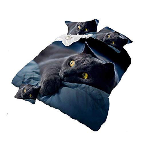3D Black Cat Bedding Sets Black Cotton Kids/Adult Quilt Cover Bed Sheet Bed Cover Pillow Sets,King Size/4 Pieces