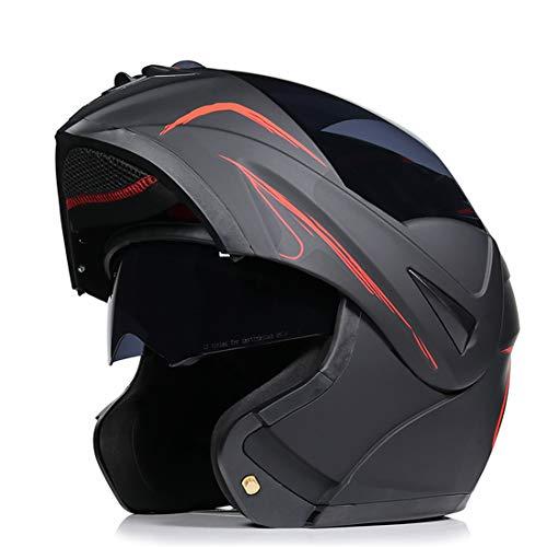 fenengcheng - Casco modular ECE 22.05 homologado para adulto, casco de moto, modular, doble visera, modular, línea roja mate, para scooter Chopper (XL)