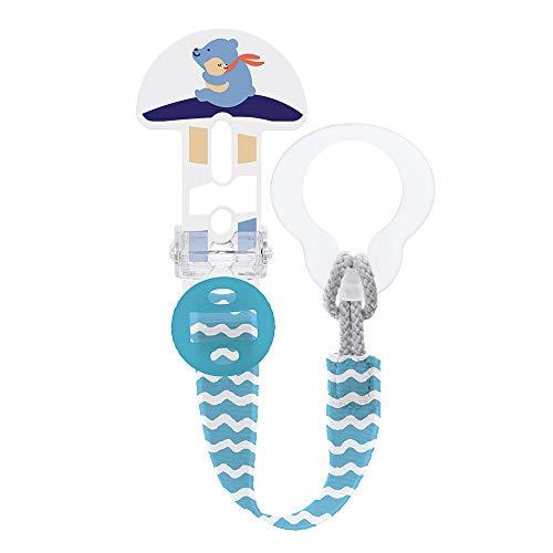 MAM Broche Clip It! S178 - Broche de Chupete con longitud ajustable, Pinza sujeta Chupete para todo tipo de chupetes, Chupetero con cierre fácil y seguro, 0+ meses, Azul