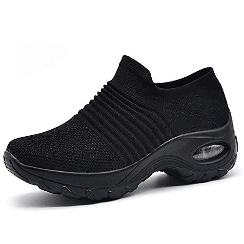 HKR Womens Walking Tennis Shoes Slip On Light Weight Mesh Platform Nursing Shoes Air Cushion Sneakers All Black US 9.5(ZJW1839quanhei42)