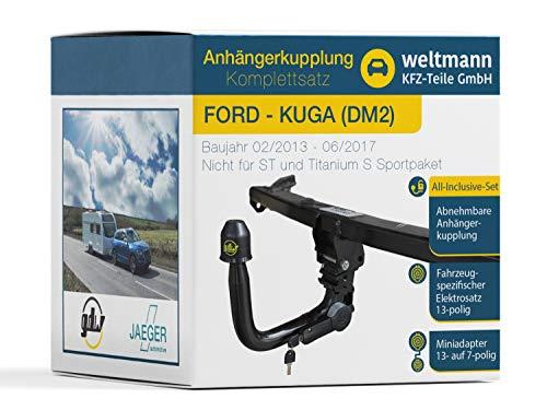 Weltmann AHK - Juego Completo de Enganche de Remolque Desmontable para Ford Kuga II (Incluye Juego eléctrico de 13 Polos)