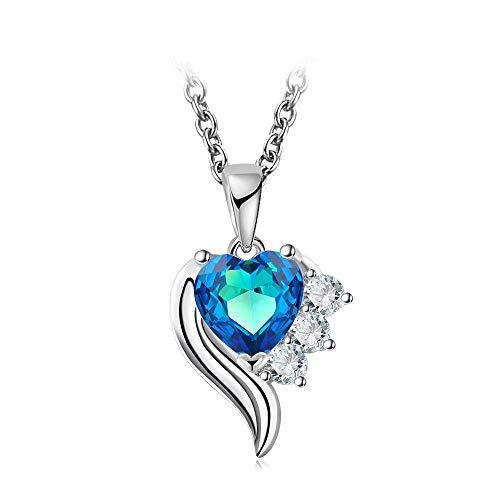 Romad Damen Mädchen Strass Elegant blau Anhänger plattiert Kette Dangle Halskette