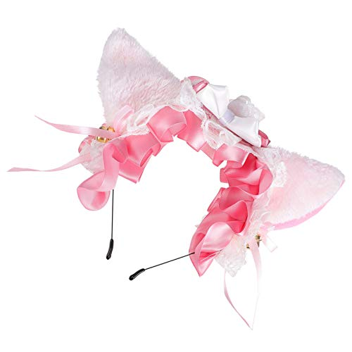 PIXNOR Cat Ears Headband Lace Bow Bell Hair Band Animal Kitty Cosplay Headwear Hair Hoop Accessories For Girl Princess Party Costume Dress Up
