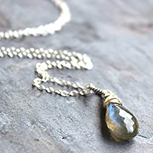 Labradorite Necklace Pendant Sterling Silver Gray Gemstone Faceted Stone