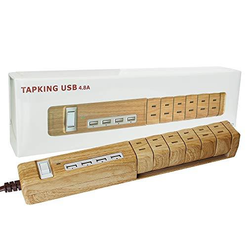 Fargo 木目調 ハイスペック 回転式 延長コード ベージュウッド USB急速充電 充電器 チャージャー TAPKING AC6個口 4.8A 2ポート 雷サージガード 電源ケーブル 1年保証 コード長1.8m
