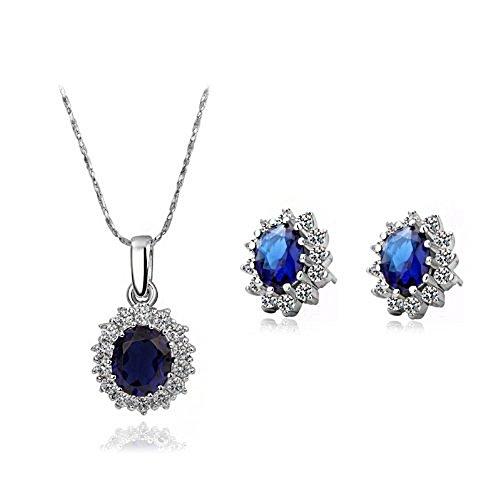 Signore-Signori 18K de Austria Royal Collar de Cristal Azul y Pendientes de la Manera de la joyería Set