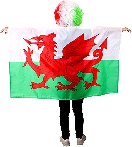 BANDERA WELSH - Accesorio para disfraz de bandera de Gales, para eventos deportivos y das nacionales (6 unidades)
