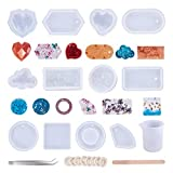 OLYCRAFT 12pcs Pendant Silicone Molds Resin Jewelry Casting Mold Kit with Tools 44pcs in Total for Epoxy Resin Jewelry Making and Art Projects
