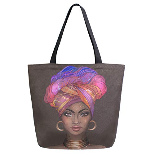African American Women Extra Large Grocery Bag Gold Tattoos Earrings Turban Pretty Girl Reusable Canvas Tote Bag Casual Beach Shopping Tote Heavy Duty Washable Shoulder Bags Handbag with Handles