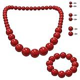 SoulCats Set di Gioielli, Collana di Perle, Bracciale di Perle e 3 Paia di Orecchini, Colore: Rosso