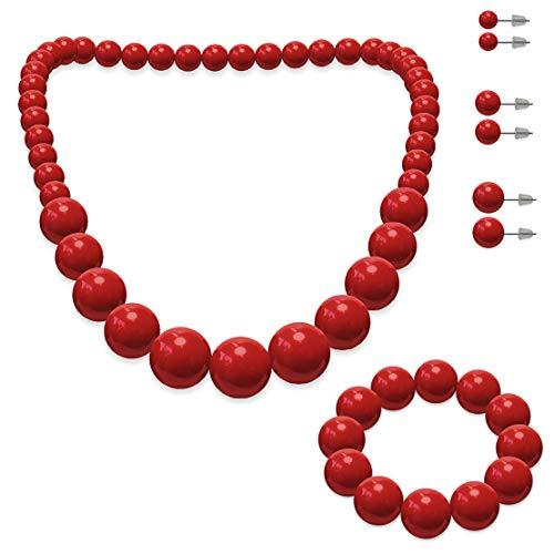SoulCats® Schmuckset, Perlenkette, Perlenarmband und 3 Paar Ohrstecker, Farbe: rot