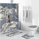 ZLWSSA Schneeweiße Gletschersiegel Duschvorhänge Polyestergewebe Badezimmer rutschfeste Teppiche Toilettendeckelabdeckung Matte Teppich Set W180xH240cm