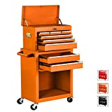 Tool Chest 8-Drawer Tool Box Rolling Tool Chest Removable Tool Cabinet, Sliding Metal Organizer Large Capacity Rolling Tool Storage Box for Garage or Small Work Shop, Orange