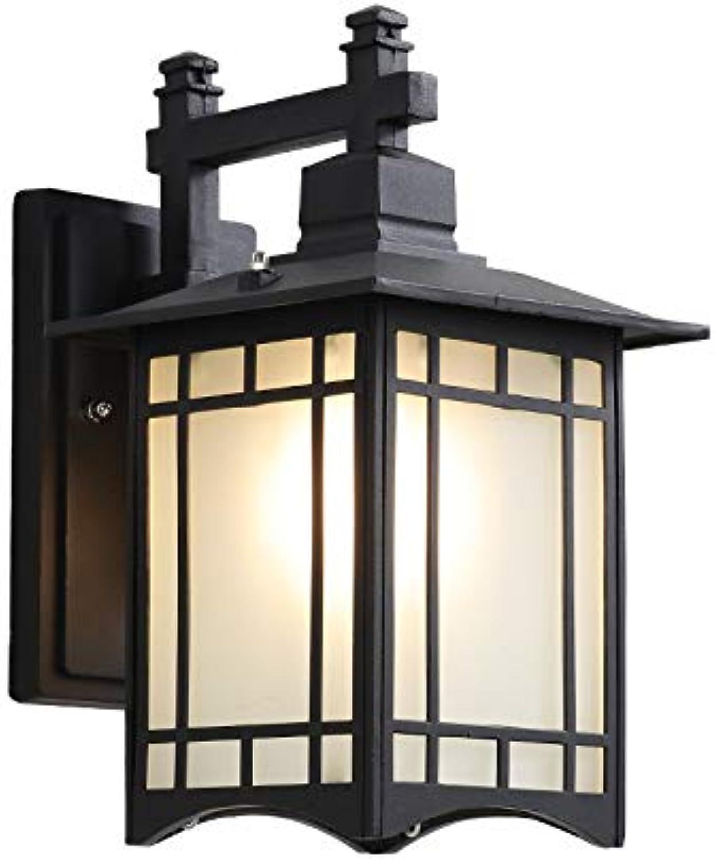 Jiege Solarleuchten Auen, Auenwandleuchte wasserdichter einfacher Hof im Freien Europische Balkonlampe im Freien führte Flur Ganglicht Retro-Tür,schwarz