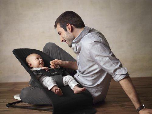 BabyBjorn Balance Soft Cotton Bouncer, Black/Dark Gray