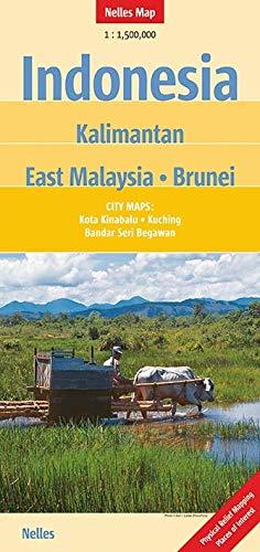 Indonesia: Kalimantan - East Malaysia - Brunei 1 : 1 500 000: City Maps: Kota Kinabalu, Kuching, Bandar Seri Begawan...